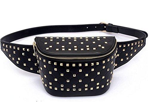Decorative Solid Clutch Bag Shoulder Temperament Mobile Color Women's Diagonal Bag Pockets Colors Cross Four Chest Bag Black Bag Bag Rivet Phone Bqw610t