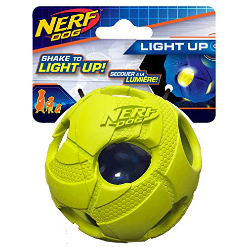 Nerf Dog 3.5in LED Bash Ball: Green, Dog Toy