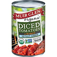 MUIR GLEN, Organic Tomatoes, Fire Roasted, Diced, No Salt, Pack of 12, Size 28 OZ, (Gluten Free GMO Free 95%+ Organic)