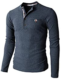 H2H Mens Casual Slim Fit Henley Shirts With Bound Pocket of Waffle Cotton
