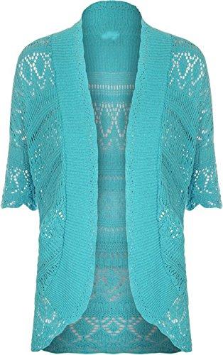 Short Sleeve Ruffle Cardigan (FashionMark Plus Size Women's Crochet Knitted Shrug Cardigan (Mocha))