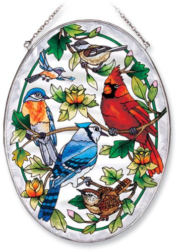 Amia Oval Suncatcher with Songbird and Cardinal Design, Hand Painted Glass, 6-1/2-Inch by 9-Inch