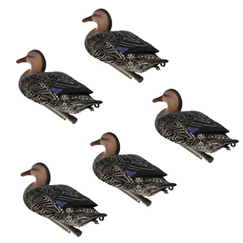 Baoblaze 5 Pieces Realistic Floating Black Duck Hunting Decoys