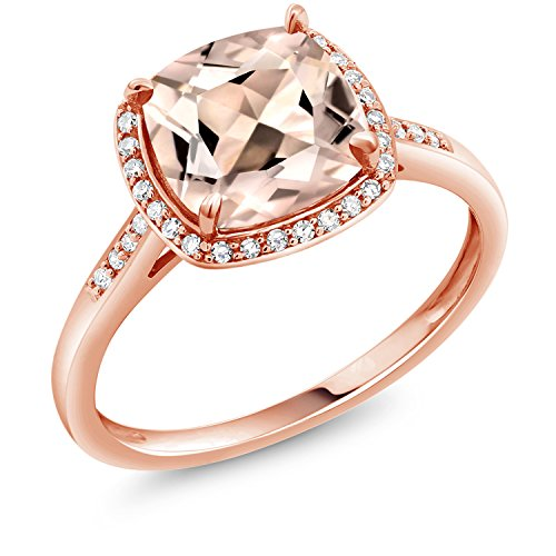 Gem Stone King 10K Rose Gold Ring Peach Morganite and Diamond Accent Women's engagement Ring 1.88 Ct Cushion cut (Size - Accent Cushion Ring Diamond