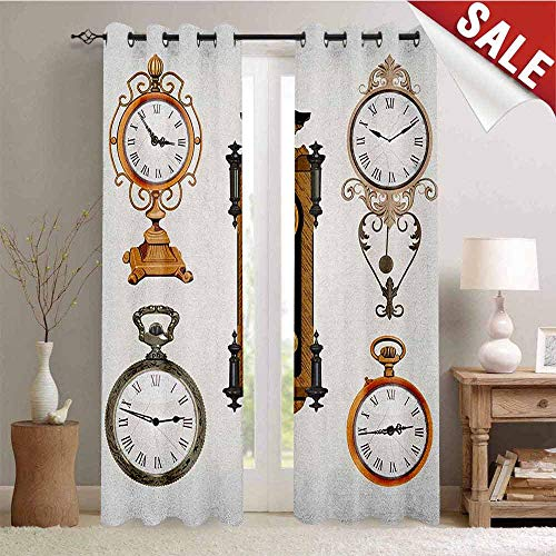 Flyerer Clock, Customized Curtains, A Set of Vintage Styled Clocks Old Fashioned Pattern in Antique Theme Design, Blackout Window Curtain, W84 x L96 Inch Umber and Beige