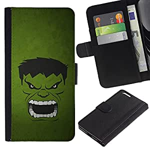 ULTIX Cases / Apple Iphone 6 PLUS 5.5 / GREEN MONSTER / Cuero PU Delgado caso Billetera cubierta Shell Armor Funda Case Cover Wallet Credit Card