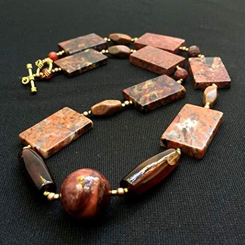 Marsala red poppy jasper slab necklace, 22