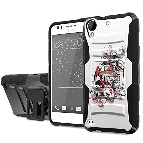 [Cricket] HTC Desire 550/555 Phone Case [NakedShield] [Black/Black] Heavy Duty Armor [Holster with Kickstand] - [Koi Tattoo] for [Cricket] HTC Desire 550/555
