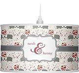 RNK Shops Elephants in Love Drum Pendant Lamp Linen (Personalized)
