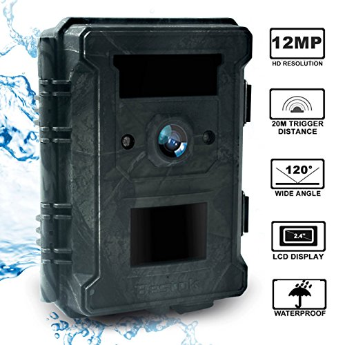 Bestok Trial Camera 12MP 120° HD Wildlife Hunting Cam with Infrared LEDs Night Vision 65 ft/20m 2.4'' LCD Waterproof IP65 Game Camera for Wildlife & Home Security by Bestok