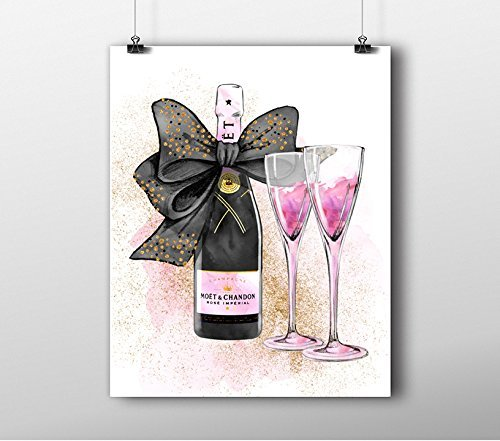 Fashion Wall Art Print   Illustration   Champagne Bow Moet Pink Water Color  Chic Glam Vogue