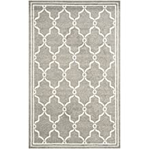 Safavieh Amherst Collection AMT414R Dark Grey and Beige Indoor/Outdoor Area Rug, 4 Feet by 6 Feet