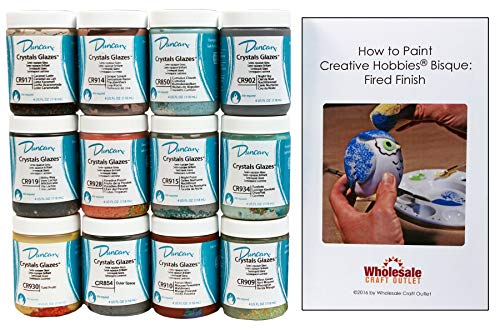 Duncan CRKIT-2 Crystals Glaze Kit for Ceramics - Set of 12 Best Selling Colors in 4 Ounce Jars with Free How to Paint Ceramics Booklet