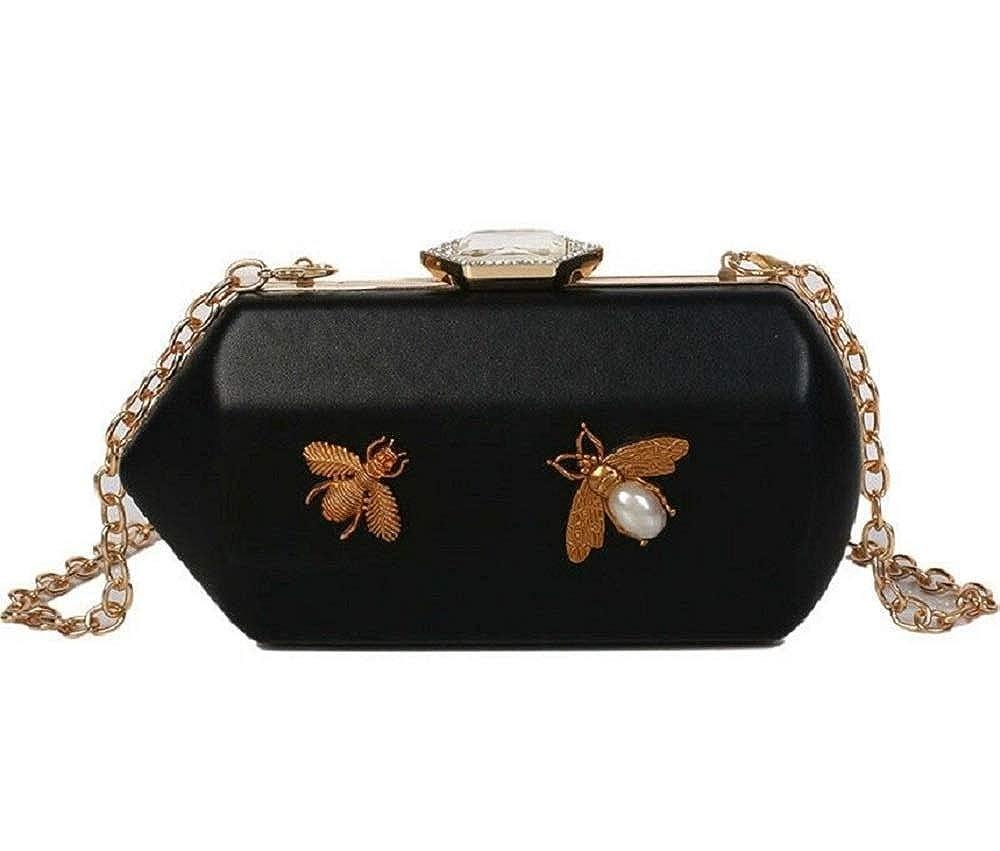 Aiellos Story Evening bag Insect Decoration Parties Fashion Hard Case Clasp Clutch bag Womens Handbag