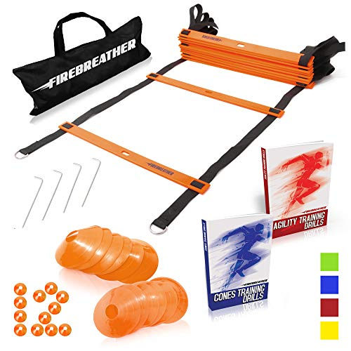 Ladder Football Game Ball - Agility Ladder and Cones by FireBreather. Great Training Equipment to Exercise Speed in Soccer, Football & Sports Workout. Set of 15ft Ladder, 12 Discs, 4 Pegs, Carrying Bag & 2 Drills Ebook