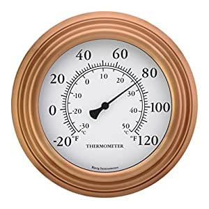 """8"""" Copper Finish Decorative Indoor / Outdoor Patio Wall Thermometer"""