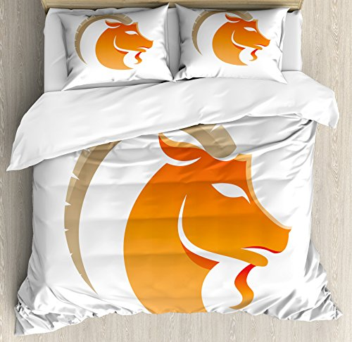 Ambesonne Zodiac Capricorn Queen Size Duvet Cover Set, Silhouette of Goat with Horns Abstract Animal Illustration, Decorative 3 Piece Bedding Set with 2 Pillow Shams, Orange Beige and White
