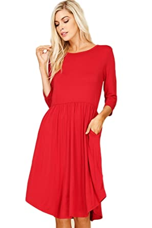 c4906849109 Annabelle Women Basic Three-Quarter Sleeve Curve Hem Pleated Dress Dark Red  Large D5317