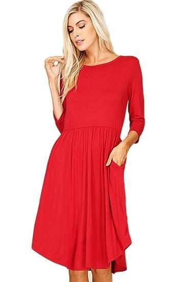 e55850062306e9 Annabelle Women Basic Three-Quarter Sleeve Curve Hem Pleated Dress Dark Red  Large D5317