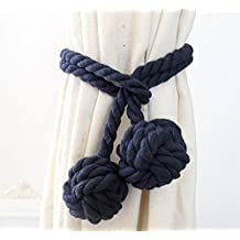 Trycooling Fine Hand Tied Curtain Clip Drapery Tassels Curtain Tiebacks/Tassel Window Cotton Rope Tie Ball Back Accessories with Double Ball (Navy Blue)