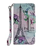FNBK Compatible with Sony Xperial XZ2 Compact Phone Case Flip Folio PU Leather Wallet Shining Bling Glitter Fresh Tower Design Kickstand Card Holder Soft Silicone Inner Shockproof Cover for Girls