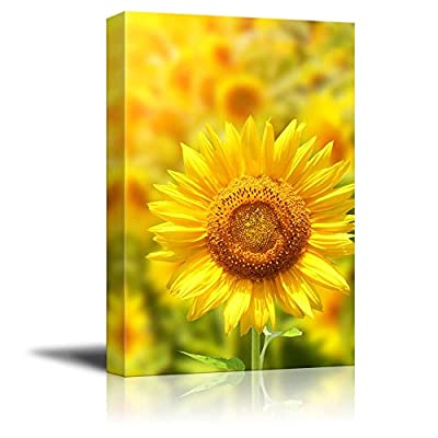 Canvas Prints Wall Art - Yellow Sunflowers and Bright Sun | Modern Wall Decor/Home Decoration Stretched Gallery Canvas Wrap Giclee Print & Ready to Hang - 24