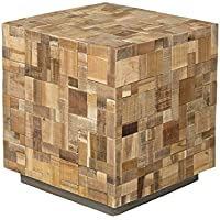 East at Main Edith Brown Mosaic Wood Square Accent Table, (19.5x19.5x21.5)