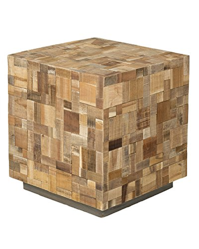 East at Main Edith Brown Mosaic Wood Square Accent Table, (19.5x19.5x21.5) (Shell Mosaic Table Lamp)