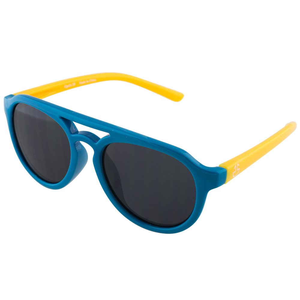 Flexible Rubber Kids Sunglasses for Boys and Girls - Bendable Unbreakable Silicone Gel Frame with Polarized Lenses - by Optix 55 (Blue & Yellow, Black)
