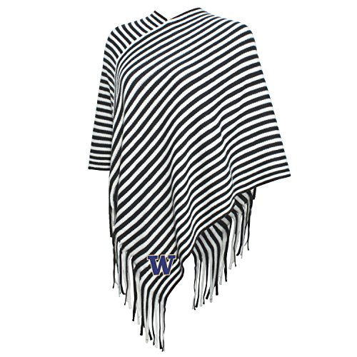 NCAA Washington Huskies FeWomen's Campus Specialties Striped Team Poncho, Carbon/White, One Size