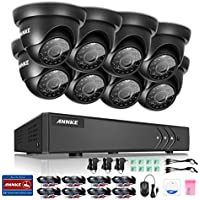 Annke Complete 8CH 1080N Surveillance DVR and (8) HD 720P Outdoor Fixed Dome Cameras IP66 Weatherproof, Super Day/Night Vision, Remote Access, NO HDD Included