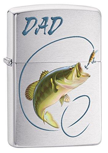 Zippo Custom Lighter: Dad, Bass Fishing - Brushed Chrome 78657