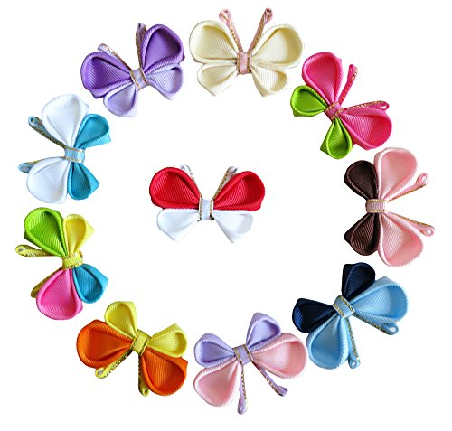 HipGirl Ribbon Sculpture Hair Bow Clips, Barrattes (10pc 2.25