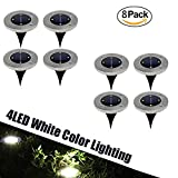 Solar Lawn Lights Path Uplight 4 LED Waterproof In-Ground Light for Outdoor Gardern Bed Pathway, Walkway, Back Yard Grassland, Deck, Patio, Area Landscape White Lighting Solar Powered Lamps 8 PACK