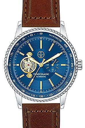 Trendy Classic automatic-cb1028 – 05-montre homme-automatique-boitier acier-cadran Farbe bleu-bracelet Leder perforiert