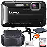 Panasonic DMC-TS30K DMC-TS30 TS30 LUMIX Active Lifestyle Tough Camera (Black) 16GB 6PC Accessory Bundle Includes SanDisk Ultra 16GB Class 10 Memory Card + MORE - International Version (No Warranty)