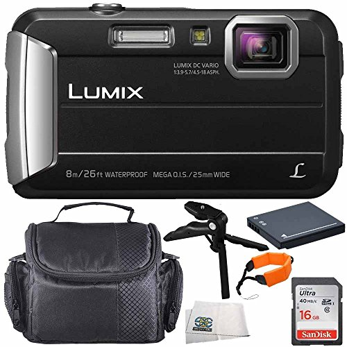 Panasonic DMC-TS30K DMC-TS30 TS30 LUMIX Active Lifestyle Tough Camera (Black) 16GB 6PC Accessory Bundle Includes SanDisk Ultra 16GB Class 10 Memory Card + MORE - International Version (No Warranty) by SSE