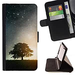 Momo Phone Case / Flip Funda de Cuero Case Cover - Naturaleza Moonlight árbol de la estrella - HTC One M9