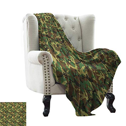 Receiving Camouflage Woodland Blanket - BelleAckerman Throw Blanket Camo,Woodland Camouflage Pattern Abstract Concealment Hiding in Jungle,Dark Green Pale Green Brown Throw Lightweight Cozy Plush Microfiber Solid Blanket 60