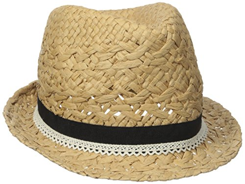 D&Y Women's Paper Braid Fedora Hat with Faux Leather Ties, Light Brown, One Size
