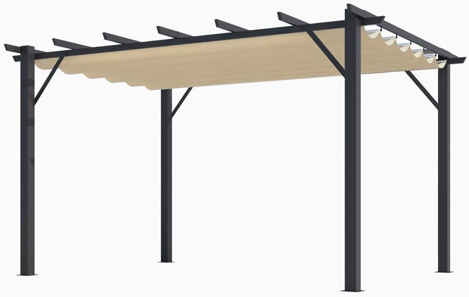 HABRITA Pérgola 100% Aluminio Color Crudo 4,00 x 3,00 x 2,30 m - 12 m2: Amazon.es: Jardín
