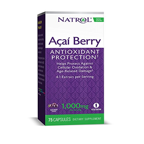 Natrol AcaiBerry 1,000mg Vegetarian Capsules, 60+15 Count Bonus (Acai Berry Diet)