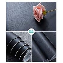 30 cm × 200 cm Pellicola Adesiva per Mobili Nero Sticker Opaco Nero Pellicola Autoadesiva Decorativa in Legno Nero per Mobili Realizzazione di Superfici Facile da Pulire Carta Adesiva per Mobili Nero