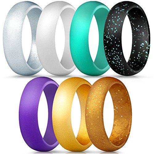 Wedding Music Ring - ThunderFit Silicone Rings, 7 Pack Wedding Bands for Women - 5.5 mm Wide (Black Gold Glitter, Teal Purple White Gold Silver, 8.5-9 (18.9mm))