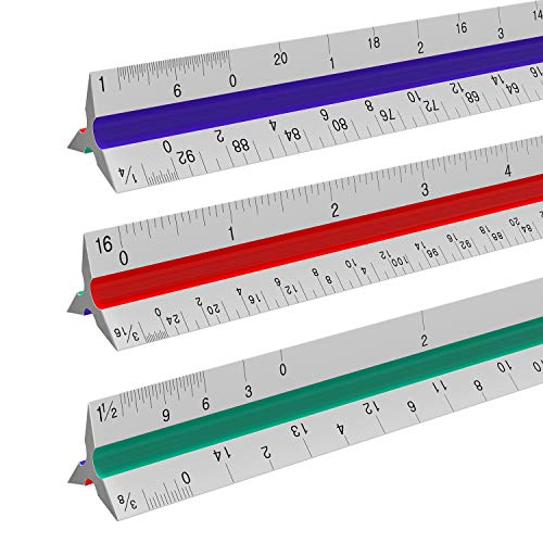 Architectural Scale Ruler - 12 Aluminum Triangular Architect Scale Ruler for Engineering Scale, Drafting Ruler, Metal Scale Ruler, Blueprint - with Imperial Measurements