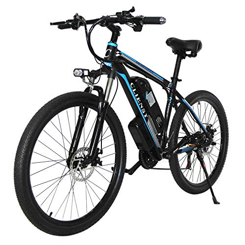 "CLIENSY 26"" Electric Mountain Bike, 350W Ebike with Removable 36V 10AH Lithium Battery for Adults, 21 Speed Shifter (Blue)"