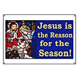 CafePress Jesus Is The Reason For The Season Stained - Vinyl Banner, 44''x30'' Hanging Sign, Indoor/Outdoor