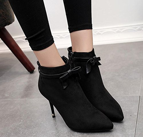 KHSKX-Black 9Cm Sweet Bow Tie High-Heeled Boots Winter New Tip Satin Fine Ladies Boot With Side Zip Ankle Boots 34 noohnbsc