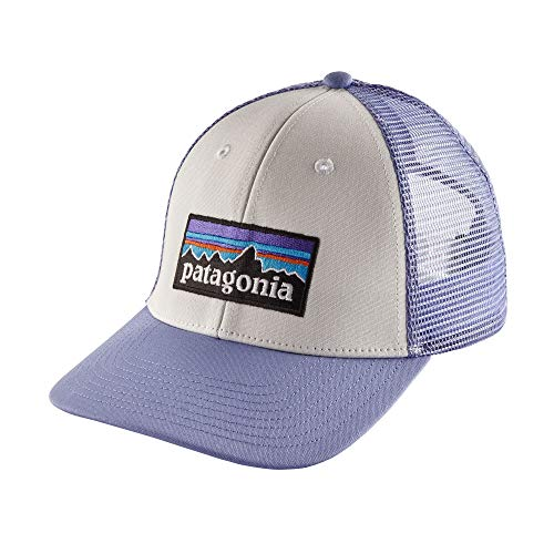 (Patagonia P-6 LoPro Trucker Hat (White w/Light Violet Blue))