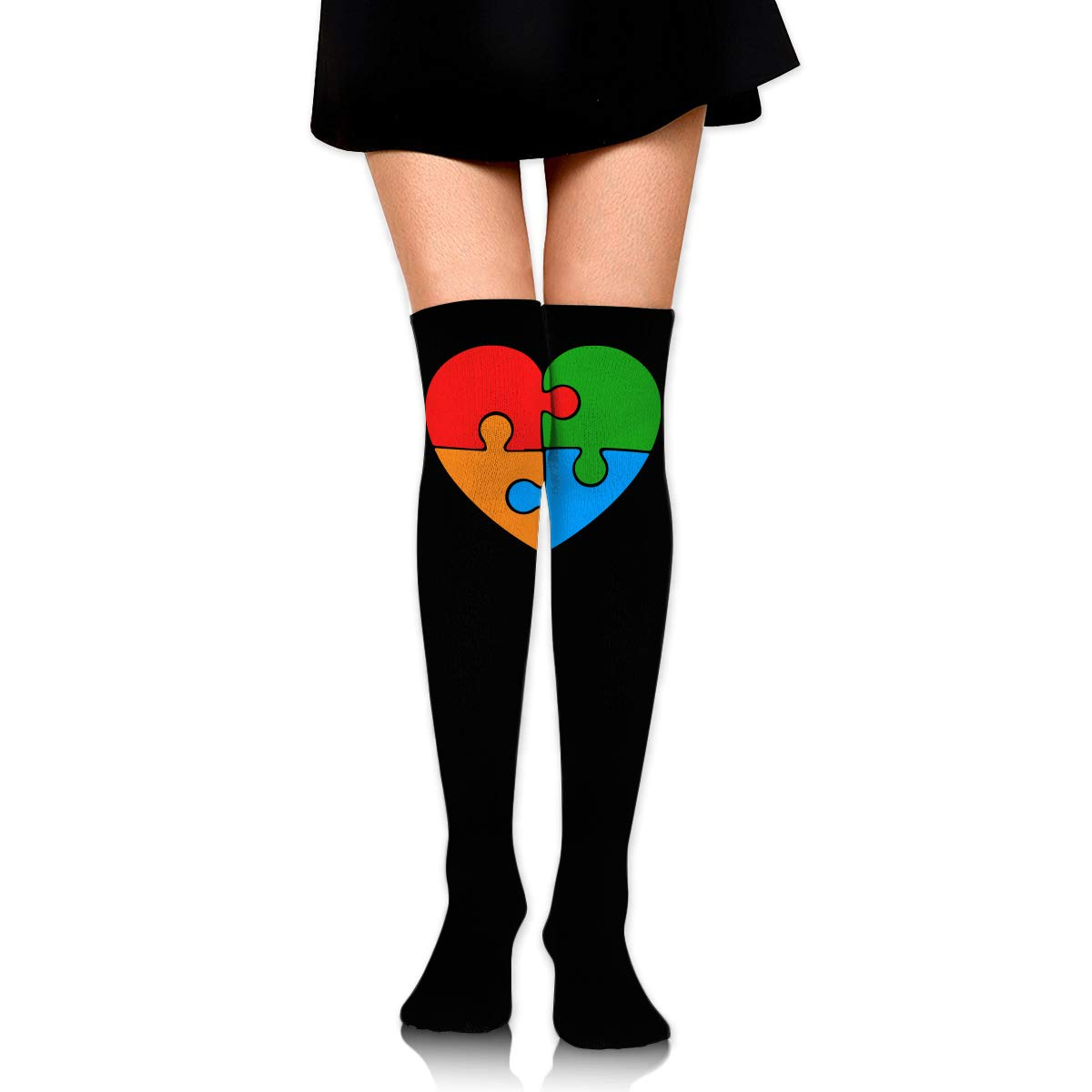 Awareness Puzzle Heart Over Knee Thigh High Stockings Fashion Socks Girls Womens Autism One Size
